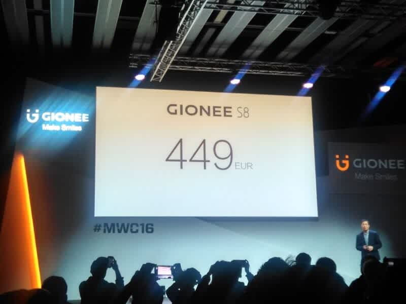 Gionee S8 with 3D touch display
