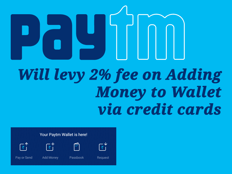 Paytm Wallet Will Levy 2% fee On Wallet Recharge Using Credit Card