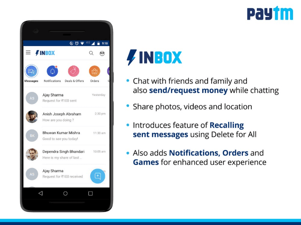 Paytm Inbox – chat, share photos, recall messages and send money