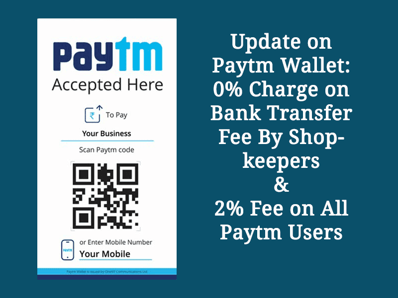Update on Paytm Wallet: 2% Charge on Bank transfer fee
